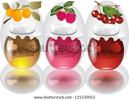 3 jars with apricot, raspberry, cherry jam - stock vector