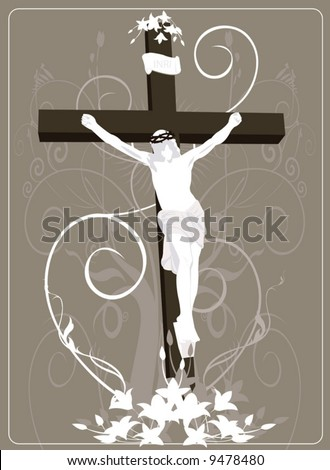 Jesus Christ in cross in floral background