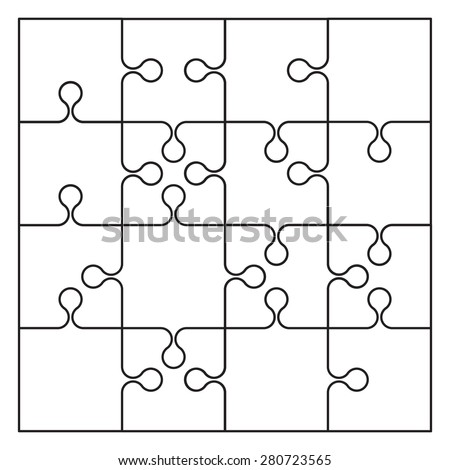 Jigsaw Puzzle Blank Template Stock Vector   Shutterstock