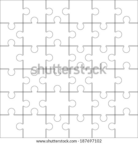 Jigsaw Puzzle Blank Template Cutting Stock Vector