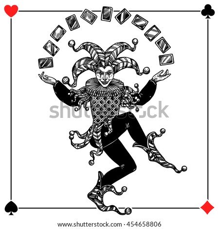 Joker card background with spades hearts diamonds and clubs flat vector illustration