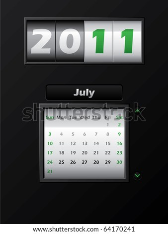 2011 july month counter calendar - stock vector