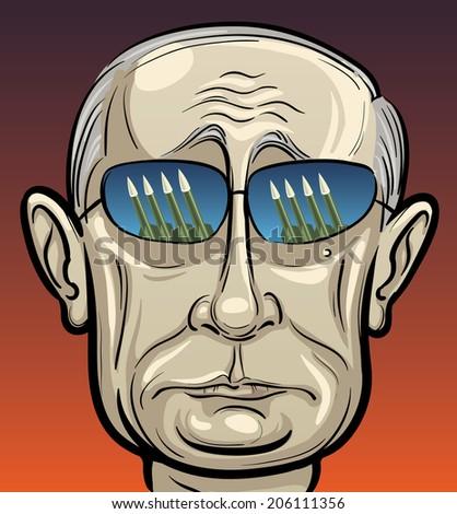 JULY 20, 2014: vector illustration of Russian president Putin in sunglasses - stock vector