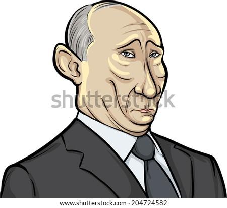 JULY 13, 2014: vector illustration of Russian president Putin on white background - stock vector