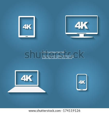 4K resolution icon with modern flat design suitable for advertising, promotion, presentation. Eps10 vector illustration. - stock vector