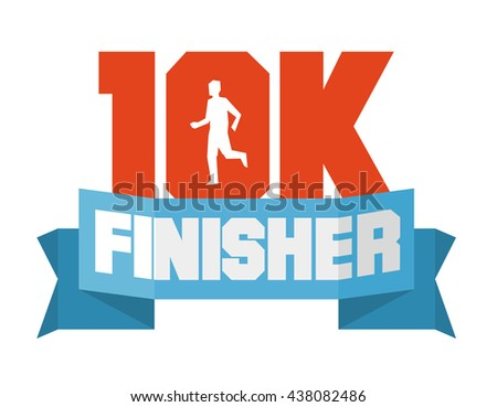 10k running finisher. Flat vector illustration. - stock vector