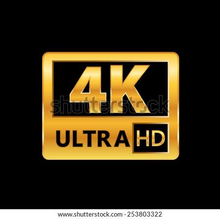 4K ultra HD sign - stock vector