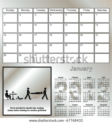 2012 Kevin series calendar for the month of January