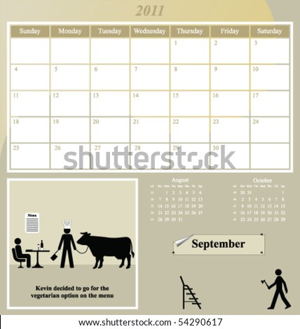 2011 Kevin series calendar for the month of September - stock vector