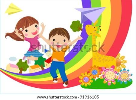 kids and rainbow - stock vector