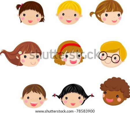 Kids Face Set - stock vector