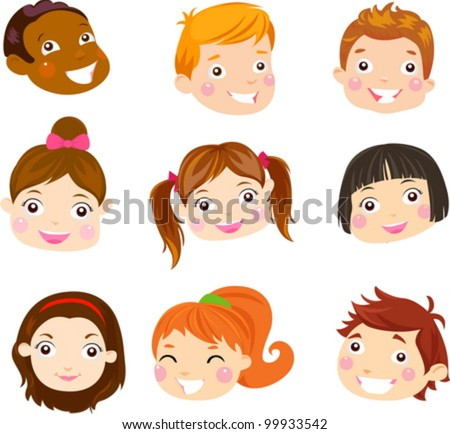 Kids Face Set - stock vector