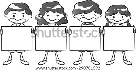 kids holding a blank card