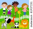 kids in the zoo - stock vector