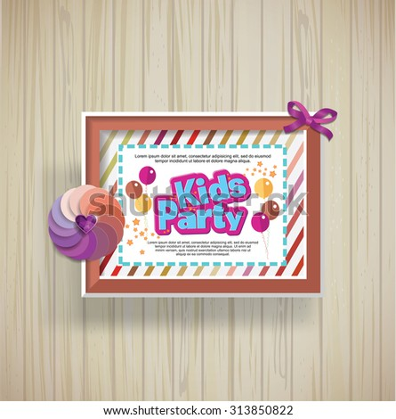 Kids Party design template.  Happy birthday  - stock vector