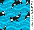 killer whale Seamless background - stock vector