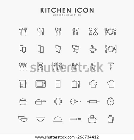 36 kitchen accessories line icons - stock vector