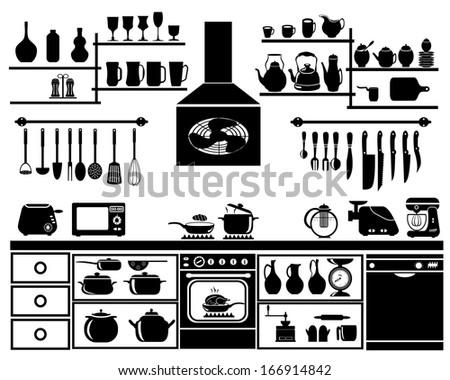 Kitchen Tool Silhouette Vector - stock vector