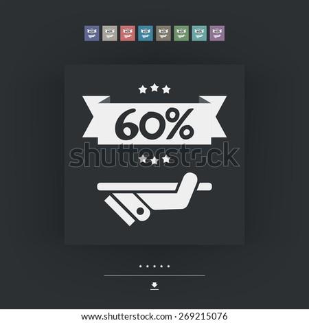 60% Label icon - stock vector