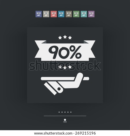 90% Label icon - stock vector