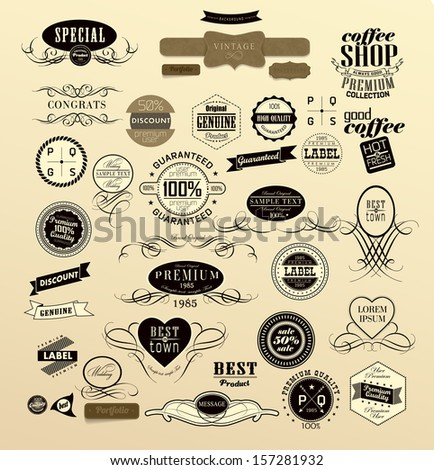 labels in different style and retro ribbon - stock vector