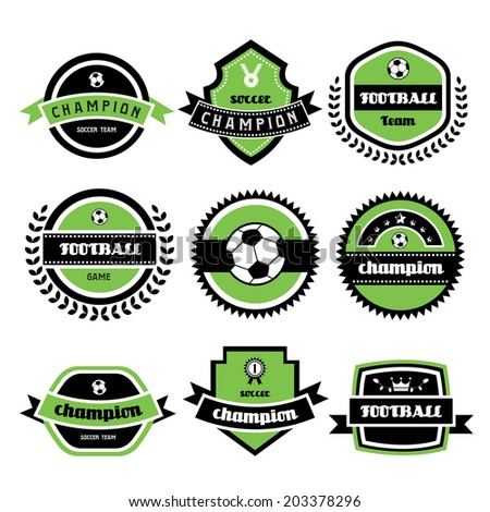 labels set of retro football champion