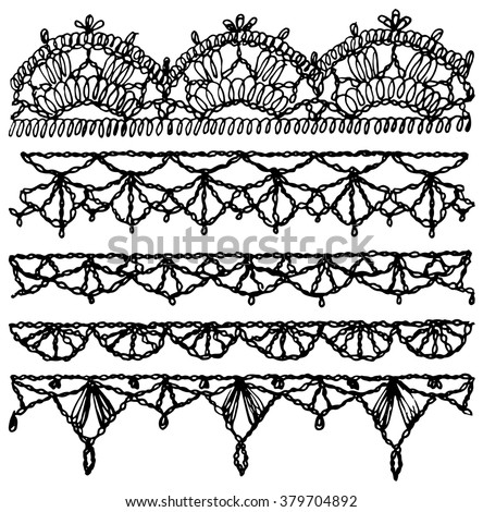 Lace pattern,  ribbon,  lace background,  lace vector,  lace border,  lace fabric. Set of isolated knitted lace borders with an openwork pattern. Vector illustration - stock vector