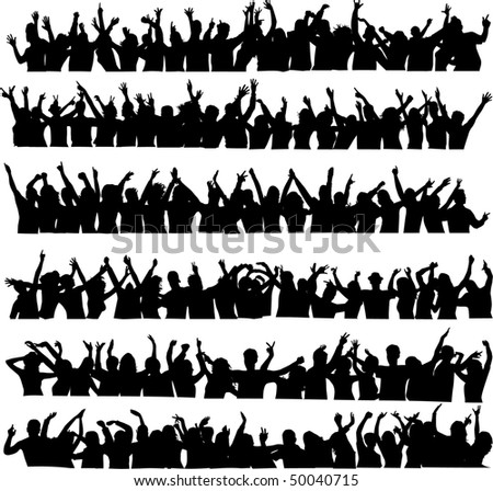 large crowd of dancing people - stock vector