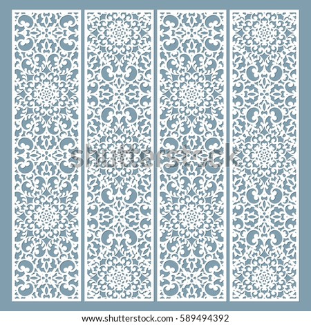 Laser Cut Decorative Lace Borders Patterns. Set Of Bookmarks Templates. Cabinet  Fretwork Panel.