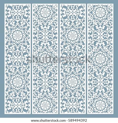 Laser Cut Decorative Lace Borders Patterns. Set Of Bookmarks Templates. Cabinet  Fretwork Panel.