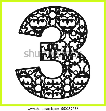 Laser cut vector number three panel stock vector hd royalty free laser cut vector number three panel template filigree cutout pattern kirigami pattern maxwellsz