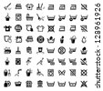 64 Laundry And Washing Icons for web and mobile. All elements are grouped. - stock photo