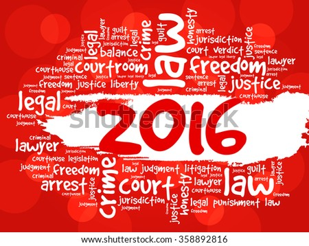 2016 Law word cloud business concept background - stock vector