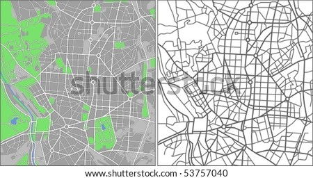 Layered Vector Map Of Madrid. - stock vector
