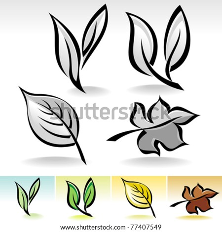 Leaf ICONs Calligraphic Illustration - stock vector