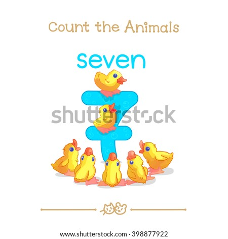 """7 learn counting with series of """"Count the Animals"""". Baby shower. School manual for teachers. Symbol and designation. Clipart isolated on white background EPS 10 - stock vector"""