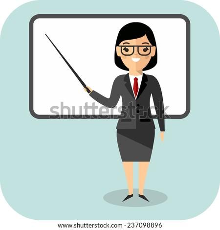 Learning  concept with teacher near blackboard. Concept of education with teacher near blackboard  - stock vector