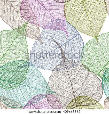 Leaves colorful seamless pattern. Vector, EPS 10. - stock vector
