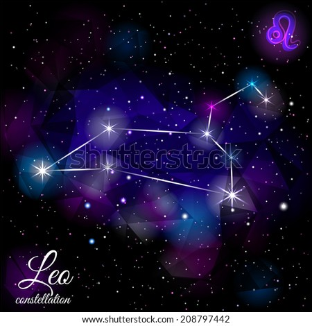 Leo Constellation With Triangular Background. True star and nebulosity positions.   EPS 10. Smartly layered. Mask was used. - stock vector