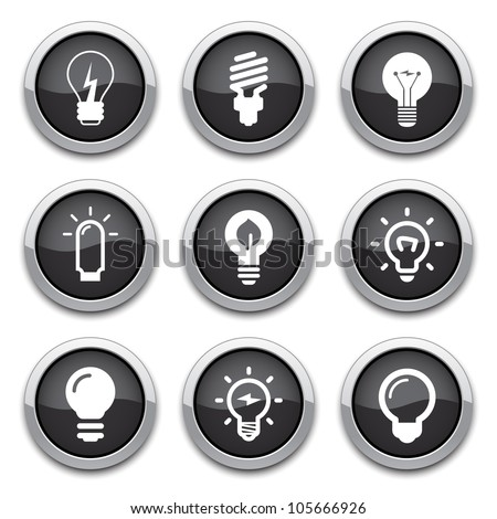 light bulb buttons - stock vector