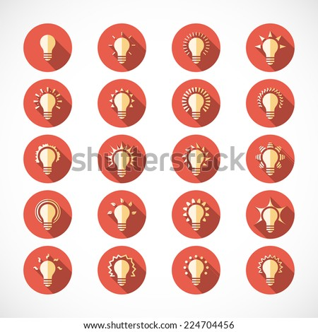 25 light bulb flat icons with long shadow effect - stock vector