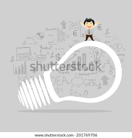 Light bulb with drawing business plan strategy concept idea  - stock vector