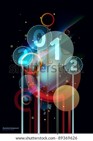 2012 light circles happy new year background background - stock vector