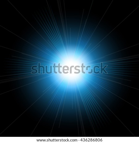 Lighting effects of flash. Easy to use. Star with lens flare and bokeh effect. - stock vector