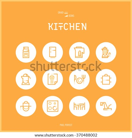Line colorfuul icons set collection of Kitchen and Cooking Foods.