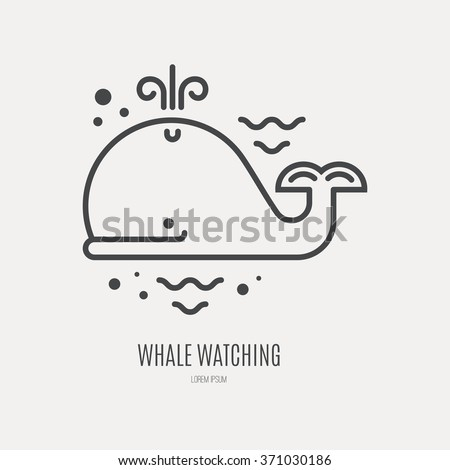 Line style logotype template with cute whale. Isolated on background and easy to use. Perfect logo for your business. Clean and minimalistic symbol. Summer adventure concept. - stock vector