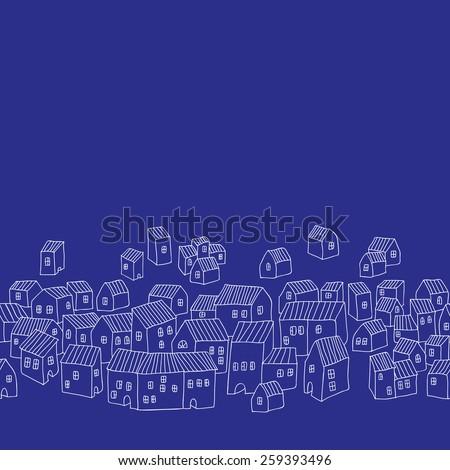 little houses at night. line border.eps10  - stock vector