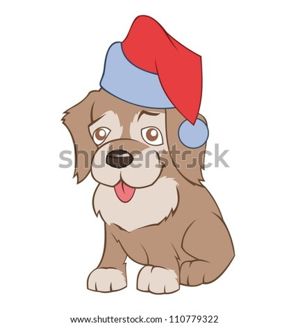 Little puppy in Santa�s hat - stock vector