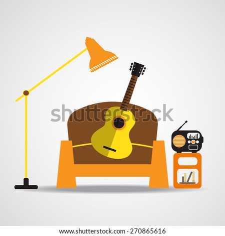 living room interior with sofa , acoustic guitar and retro radio, Flat design. Vector EPS 10 - stock vector