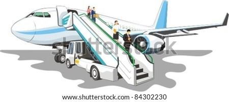 loading ramp with passengers on a airplane - stock vector